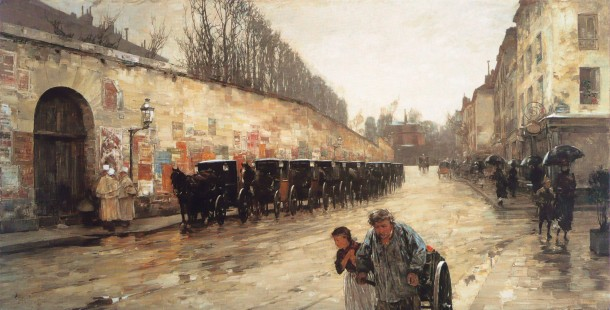 Cab Station, Rue Bonaparte by Childe Hassam, 1887