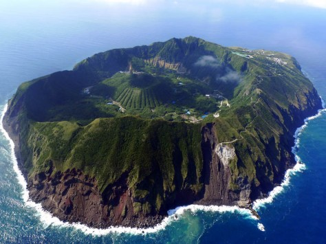 The Inhabited Volcanic Island of Aogashima