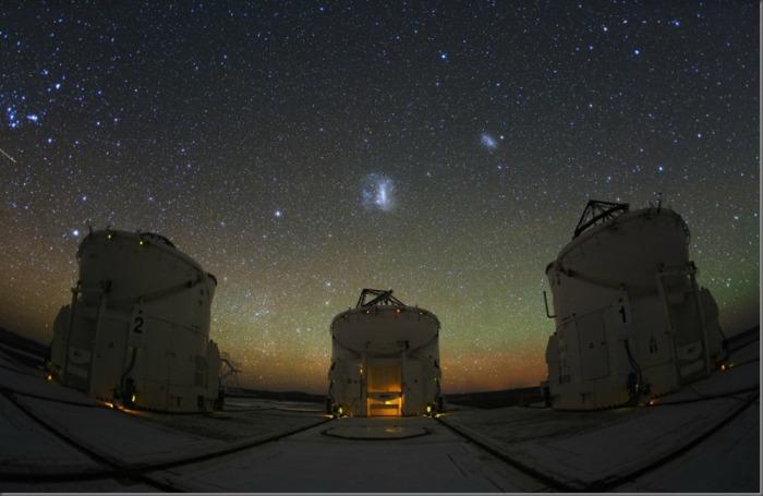 Three telescopes. Atacama Desert, Chile.