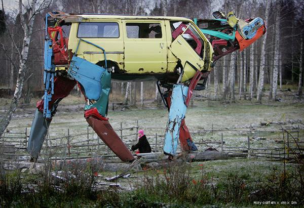 Enormous Cows Made From Car Parts by Miina Äkkijyrkkä