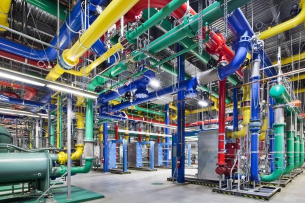 Mechanical Piping And Equipment Inside A Google Data Center
