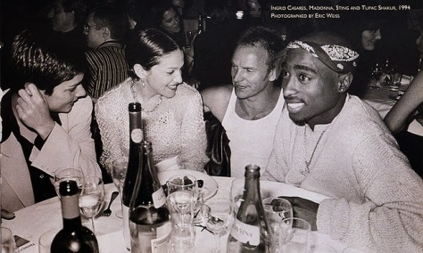 Ingrid Casares, Madonna, Sting and Tupac hanging out, 1994