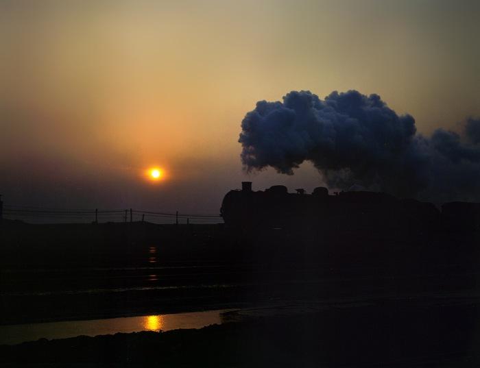 January 1943. Indiana Harbor Belt switch engine near Calumet Park stockyards at Calumet City by Jack Delano.