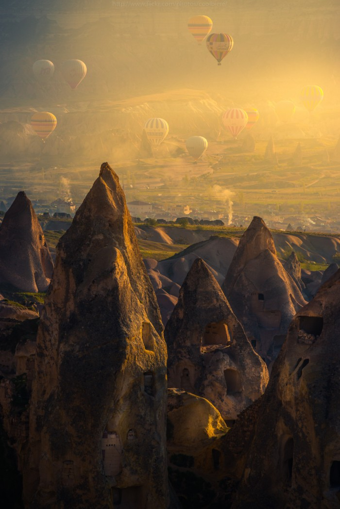 Hot Air Balloons Above Pigeon Valley, Turkey