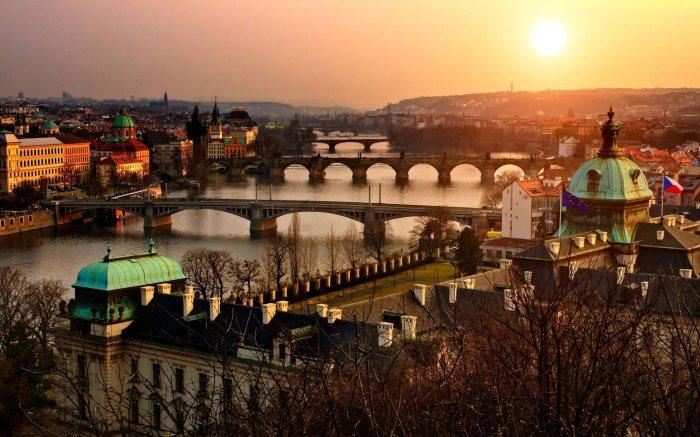 As the Sun sets over Prague, Czech Republic