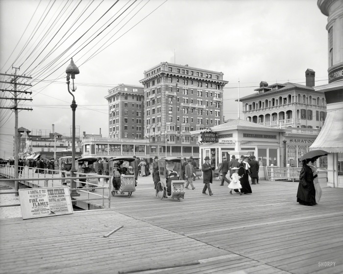 Atlantic City circa 1905. ...Hotel Chalfonte and Boardwalk.Where the diversions include shooting flames, rolling chairs and ..social drama...