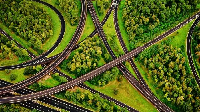 Aerial view of highway interchange, North Rhine-Westphalia, Germany