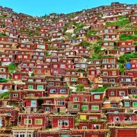 Mountain Village in Tibet