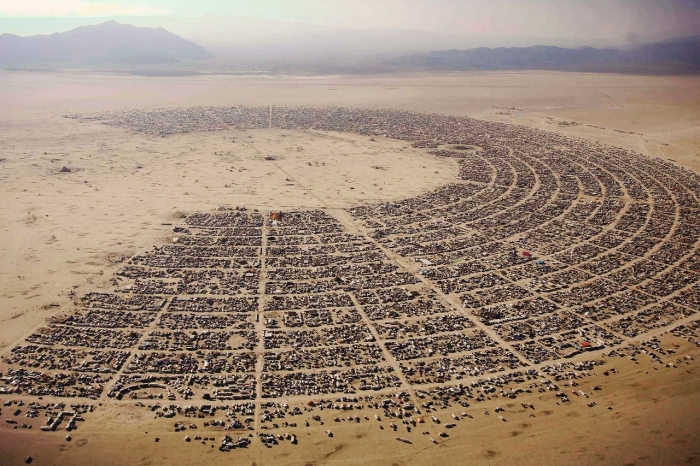 """Aerial view of the """"Burning man"""" music festival held in the Black Rock Desert in northern Nevada, in the United States"""