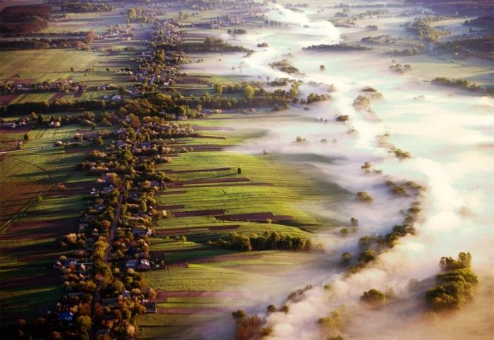 fog over fields, ukraine