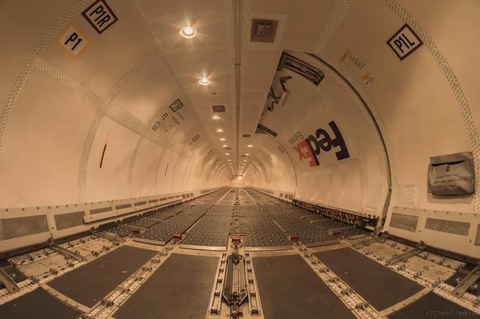 inside FedEx Boeing 757 cargo airplane