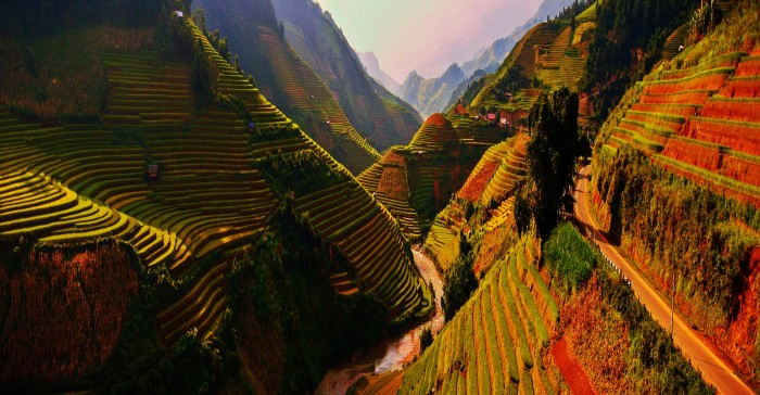 The hillside rice field terraces of Thailand