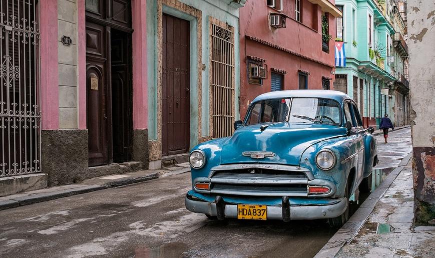 Blue Car in Havana, cuba