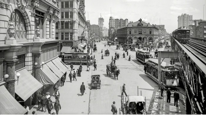 Circa 1903. Herald Square, New York. With Times Square in the distance, and the New York Times building going up at center. Macy's, the New York Herald newspaper building, Sixth Avenue elevated tracks and Hotel Astor