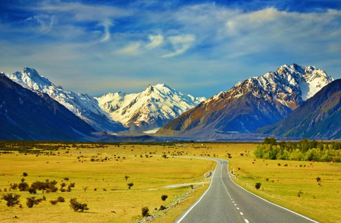 Landscape With Road and Snowy Mountains Southern Alps New Zealand - Landscape
