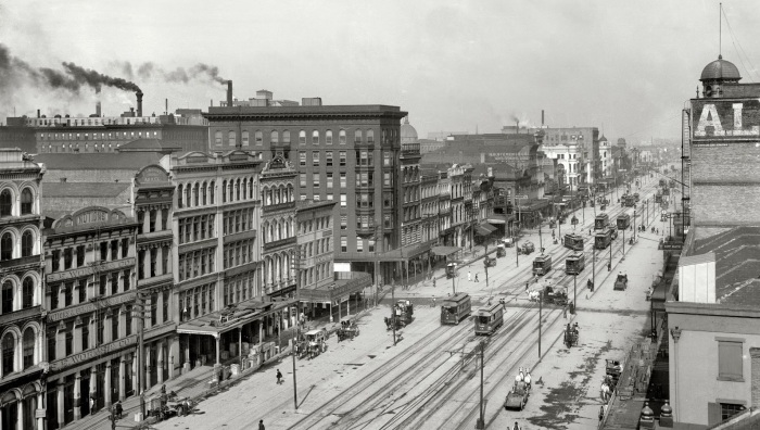New Orleans from between the 1900s and 1910s Canal Street from above, 1903.