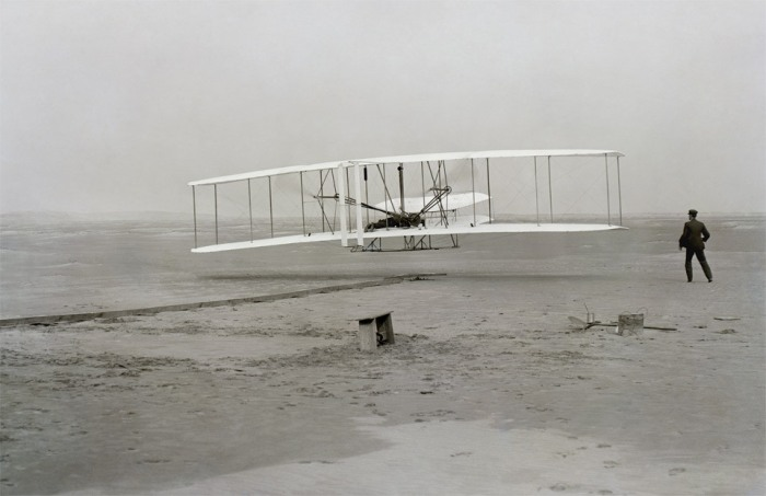 The first successful flight by Wright Brothers, 1903