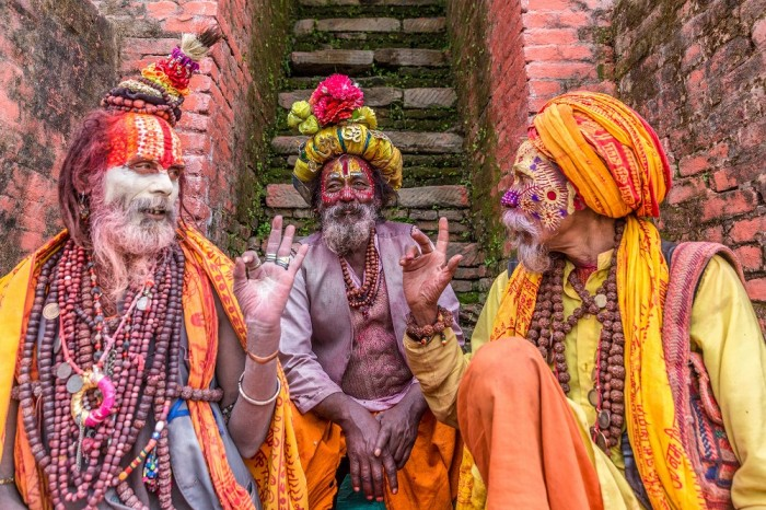 The Yetis of Nepal, The Aghoris as they are Called are Marked by Colorful Body Paint and Clothes