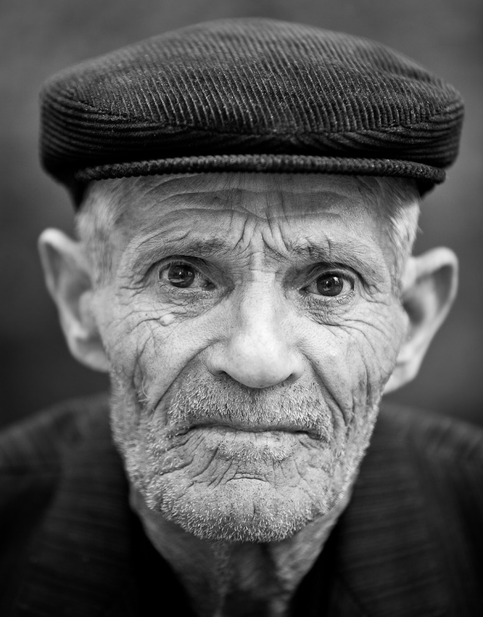 Black white portraits of old men advertisements