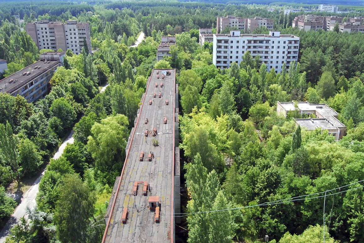 25 years abandoned city near Chernobyl, apocalyptic landscape  all over, vegetation has taken over